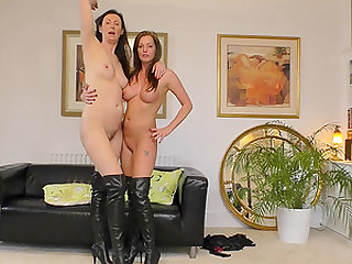 Holly Kiss hooks up with a nasty brunette for a lesbian game