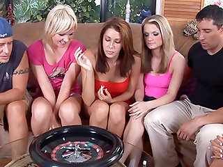 Horny ladies have a blast fucking a bunch of fellows