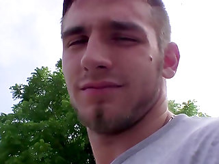 Muscled jock Elijah Knight is pissing and stripping outdoors