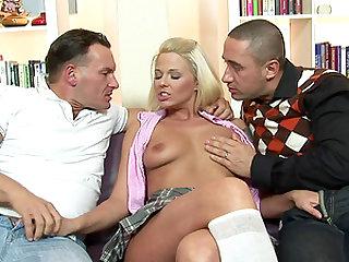Hot blonde Simony Diamond wants to feel a couple of boners