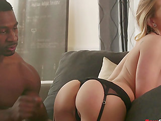 Gorgeous blonde Sydney Cole yearns for an interracial fuck