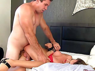 A pervert guy takes a sexy tgirl his room and makes her suck