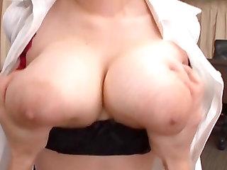 squeezing the big naturals tits of Miyoshi Aya makes this guy very horny