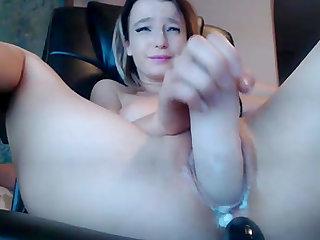 Big dildo in her creamy wet pussy