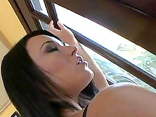 Big tits pornstar enjoys a steamy ride on a sex machine