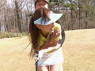 Nasty Japanese chick sucks a hunk's dong on a golf course