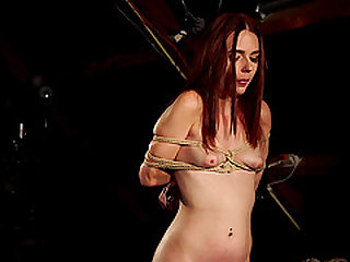RedHead Dragged In Woods Punished with Wax and Big Masturbation Toy bdsm