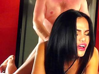 Ladyboy Darly gets her slutty ass fucked bareback buy a masked man.