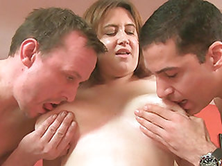 Big tits British slut Laura Lou sucking and getting by three lucky guys