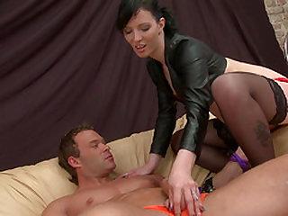 Tied up hunk enjoys being teased by brunette mistress Kara