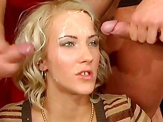 Justine Ashley gets nasty facial cumshot in orgy shoot