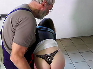 Such an innocent sexy young pussy for old horny man