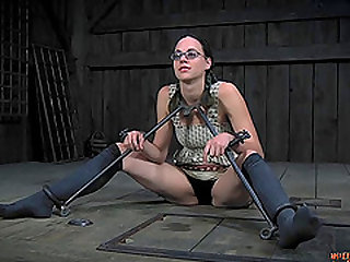 Fine ass brunette juicy pussy lovely drilled using toy in BDSM