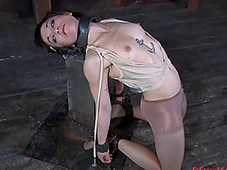 Claire Adams drilled roughly using toy in BDSM shoot
