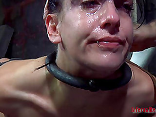 Chained Elise Graves enjoying her terrifying punishment