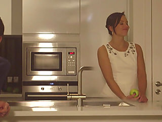 Awesome pussy drilling in the kitchen with his babe Alysa Gap