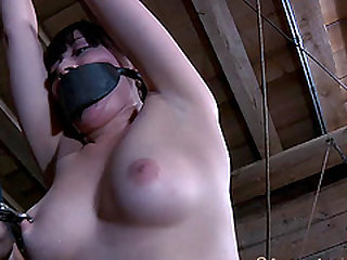 Nyssa Nevers oiled pussy getting drilled using toy in BDSM