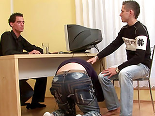 Cute gay tight asshole screwed using toy in threesome porn