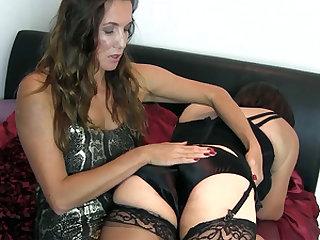 Kinky milf spanking saucy sissy slut tight ass in silky black panties nylon stockings and lingerie
