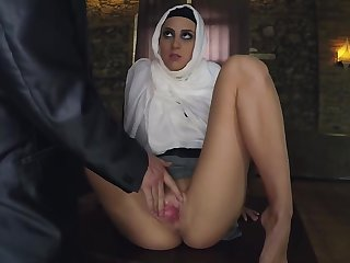 Slim Arab Babe Gets Fingered Before Having Sex With Guy In Suit