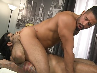Bearded dude riding monster dick