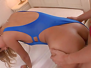 Hot woman in a swimsuit filled with semen after a fuck