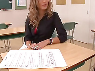 Hot teacher spreads her legs for a fortunate man's penis