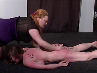 Lesbian beating and kicking of humiliated cunt busting slave Taylor Heart by heartless BDSM mistress