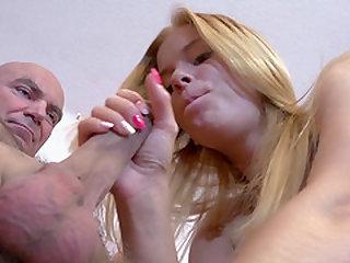 Stunning Chrissy Fox bouncing on old Jan's pulsating manhood