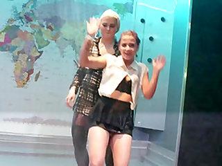 Superb twerking from nice ass lesbian in high heels
