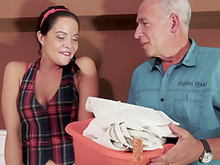 Cock craving brunette Diore wants to play with an old fellow