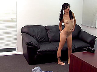 Brunette Becky showcasing her smashed juicy pussy