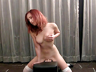 Redhead slut Halie covered in cum after choking on a member
