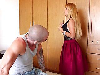 Naomi gives deep-throat blowjob and gets ass nailed on hard cock toughly.