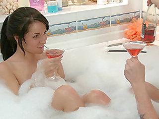 Hot Danaya seduced by a horny man during a nice bath