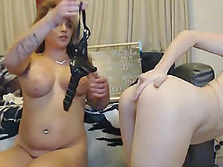 Busty On Skinny Lesbian Strapon Doggystyle Fuck