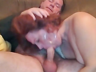 Sexy milf neighbor gives blow job swallows on couch