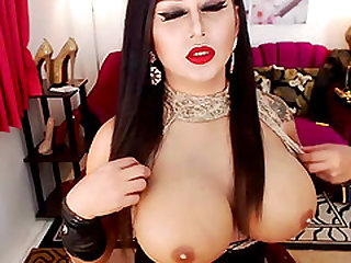 Beautiful Huge Tits Shemale Enjoys Playing Her Cock