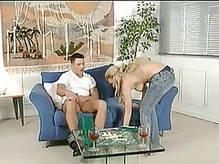 Delectable wife gets screwed cowgirl style on the couch