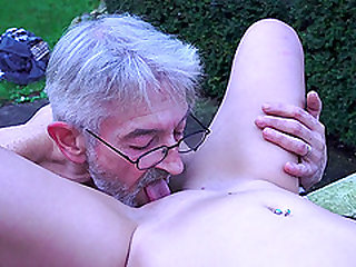Bunny Babe lets an elderly man ravish her body in a park