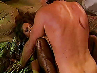 Rachel Love in stockings spreading legs while her pussy is licked