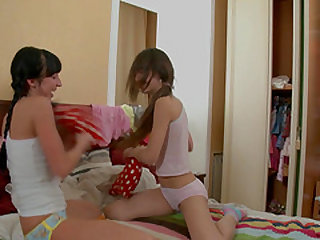 Small tits teen lesbian Lisa G screwed using toy lovely