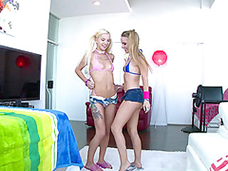 Two cock hungry blonde whores take turn deepthroating a tool