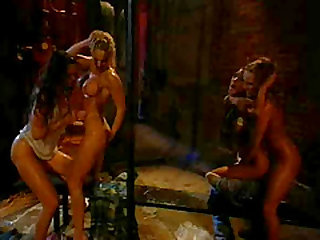 Oiled hot ass lesbian Heather Hunter pussy licked in group scene