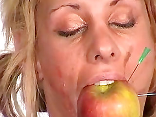 Bizarre blondes pussy punishment and amateur bdsm of kinky masochist Crystel Lei