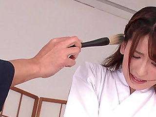 Jizzing Yuri Sasahara's face after wild face fucking and pussy boning