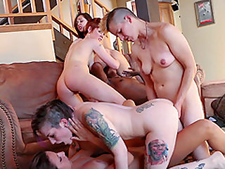 Orgy with sluts Lily Cade, Ana Foxxx, Jenna Sativa and others