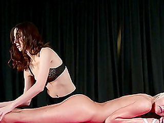 Sexy massage and lesbian action with babes Lena Love and Kiki