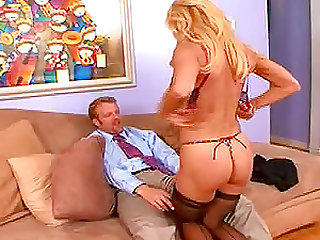Amber Lynn and Jaelyn Fox destroy the sofa from wild banging