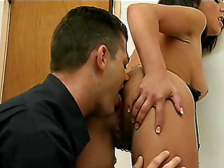 Horny dude puts on a condom and bangs the hell out of Kirsten's pussy
